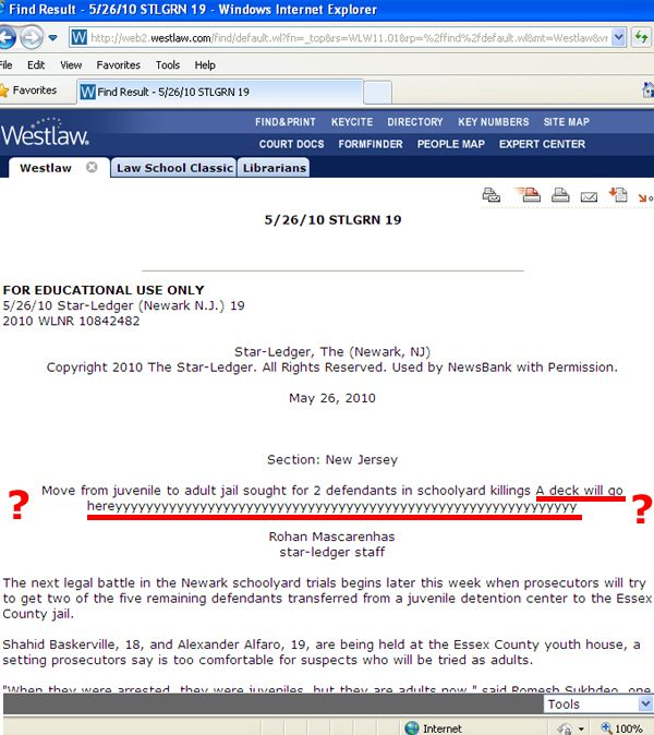 Weird Westlaw Glitch or Typo