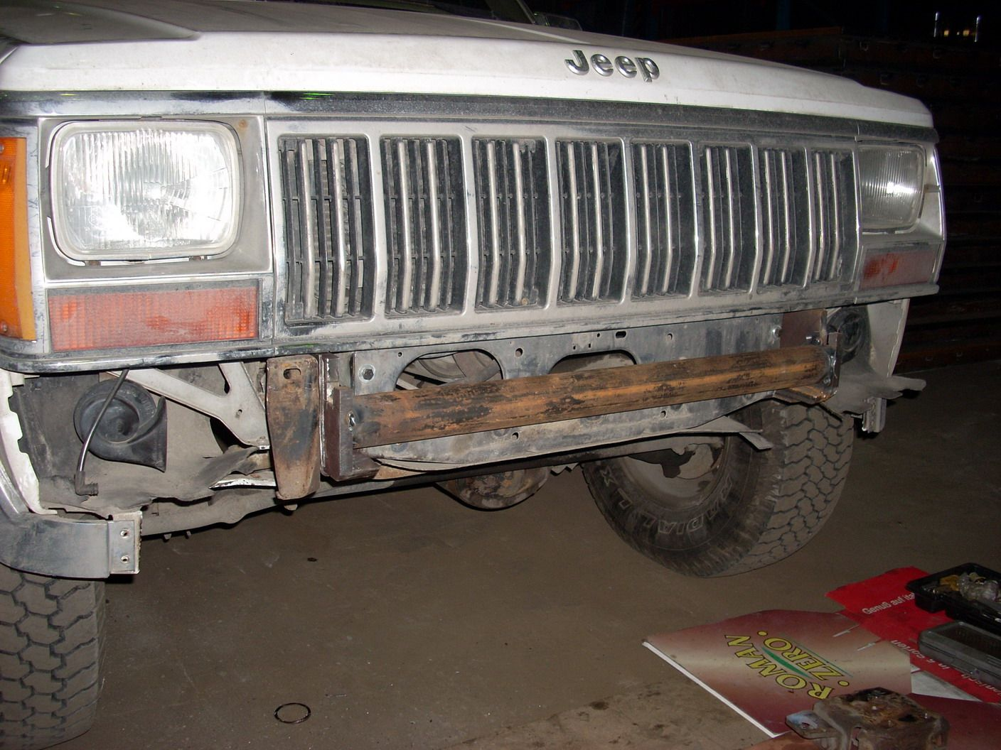 Xj Winch Behind Original Bumper 1999 Jeep Cherokee Forum Both Sides Were Connected With Trick Walled Tube Diameter 60mm